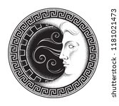 crescent moon in antique style... | Shutterstock .eps vector #1181021473