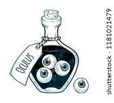 eyeballs in glass bottle...   Shutterstock .eps vector #1181021479