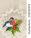 bullfinch christmas card | Shutterstock .eps vector #118102519