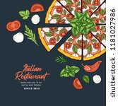 pizza cafe design template.... | Shutterstock .eps vector #1181027986
