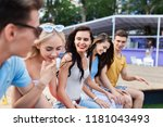 a company of good looking... | Shutterstock . vector #1181043493
