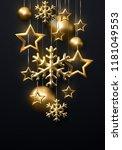 shimmering golden snowflakes ... | Shutterstock .eps vector #1181049553