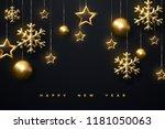 shimmering golden snowflakes ... | Shutterstock .eps vector #1181050063