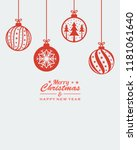 christmas ornament hanging red... | Shutterstock .eps vector #1181061640