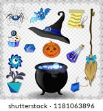 witch blue accessories vector...