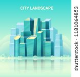 city landscape with high glass... | Shutterstock .eps vector #1181064853