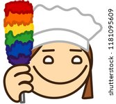 emoticon with happy maid that... | Shutterstock .eps vector #1181095609