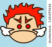 emoji with mad furious redhead... | Shutterstock .eps vector #1181095636