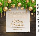 christmas illustration   paper... | Shutterstock .eps vector #118110028