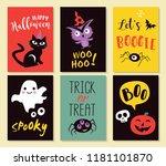 halloween greeting cards ... | Shutterstock .eps vector #1181101870