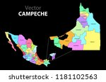 political map of mexico with... | Shutterstock .eps vector #1181102563