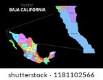 political map of mexico with... | Shutterstock .eps vector #1181102566