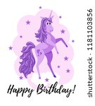 the funny unicorn stands on its ... | Shutterstock .eps vector #1181103856