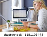 fashion designer woman working... | Shutterstock . vector #1181109493