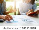 businessman and partner hand... | Shutterstock . vector #1181112010