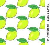 lemon hand drawn seamless... | Shutterstock .eps vector #1181112469
