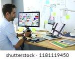 portrait of young designer... | Shutterstock . vector #1181119450