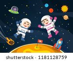 space scenes. astronaut  on the ... | Shutterstock .eps vector #1181128759
