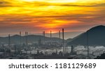 aerial view oil refinery night... | Shutterstock . vector #1181129689