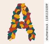 alphabet letters from leaves. ... | Shutterstock .eps vector #1181131009