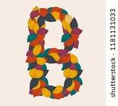 alphabet letters from leaves. ... | Shutterstock .eps vector #1181131033