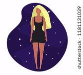 stylish blonde girl in fashion... | Shutterstock .eps vector #1181131039