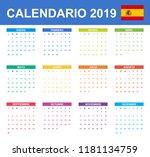 spanish calendar for 2019.... | Shutterstock .eps vector #1181134759