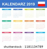 polish calendar for 2019.... | Shutterstock .eps vector #1181134789