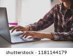 businessman hands busy using... | Shutterstock . vector #1181144179