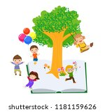 kids and book | Shutterstock .eps vector #1181159626