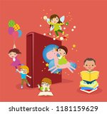 kids and book | Shutterstock .eps vector #1181159629