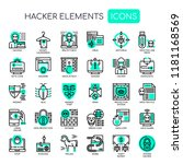 hacker elements   thin line and ... | Shutterstock .eps vector #1181168569