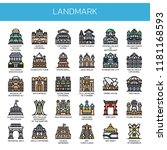 landmark   thin line and pixel... | Shutterstock .eps vector #1181168593