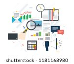 hand with magnifying glass ... | Shutterstock .eps vector #1181168980