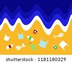 stop ocean plastic pollution... | Shutterstock .eps vector #1181180329
