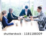 business people sitting and... | Shutterstock . vector #1181188309
