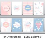 set of baby shower card on... | Shutterstock .eps vector #1181188969