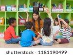 asian female teacher teaching... | Shutterstock . vector #1181190499