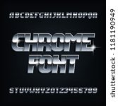 beveled chrome alphabet font.... | Shutterstock .eps vector #1181190949