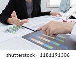 business team meeting present... | Shutterstock . vector #1181191306