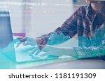 double exposure business people ... | Shutterstock . vector #1181191309