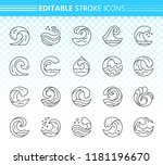 wave thin line icons set.... | Shutterstock .eps vector #1181196670