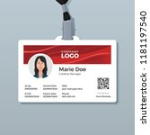 employee id card with shiny red ... | Shutterstock .eps vector #1181197540