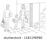 family shopping. happy people... | Shutterstock .eps vector #1181198980