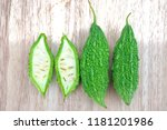 bitter melon or bitter gourd... | Shutterstock . vector #1181201986