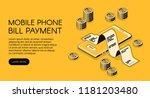 mobile phone bill payment... | Shutterstock .eps vector #1181203480
