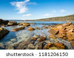 rockpool and blue summer sky at ... | Shutterstock . vector #1181206150