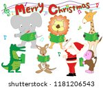 christmas concert at the zoo.... | Shutterstock .eps vector #1181206543