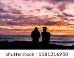 silhouette of a couple  man and ... | Shutterstock . vector #1181216950