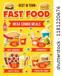 fast food menu with combo meal. ... | Shutterstock .eps vector #1181220676